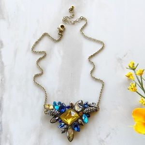 Blue and amber floral small necklace NWT